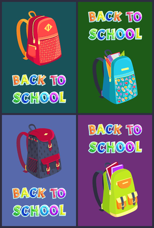 Back to School Posters Set Vector Illustration