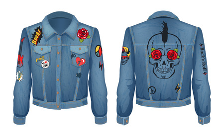 Rock Jacket of Denim Cloth Vector Illustration Archivio Fotografico - 111414755