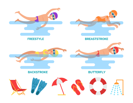 Breaststroke and Backstroke Vector Illustration Stock Illustration - 111414756