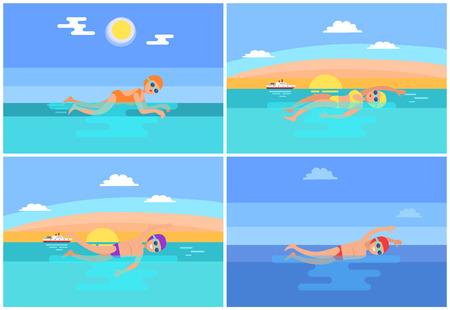 Backstroke and Butterfly Set Vector Illustration
