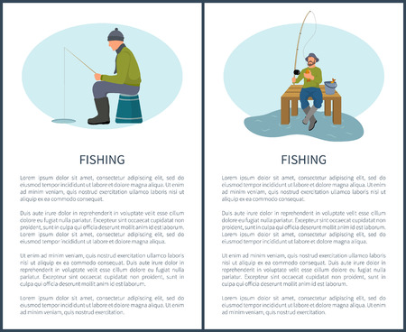 Fishing in Summer and in Winter Vector Icons.