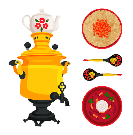 Samovar and borshch dish served with sour cream in wooden bowl with decorative spoons set. Russian items souvenirs and meals, vector illustration