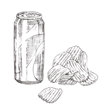 Soda can with chips vector monochrome sketch.