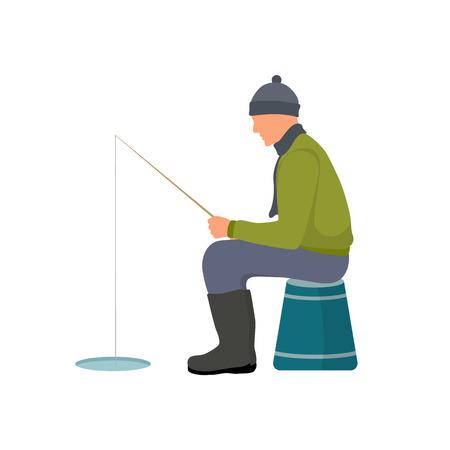 Illustration vectorielle de pêche d'hiver carte colorée, homme en vêtements chauds et chapeau tenant une canne à pêche et assis sur un seau, isolé sur fond blanc