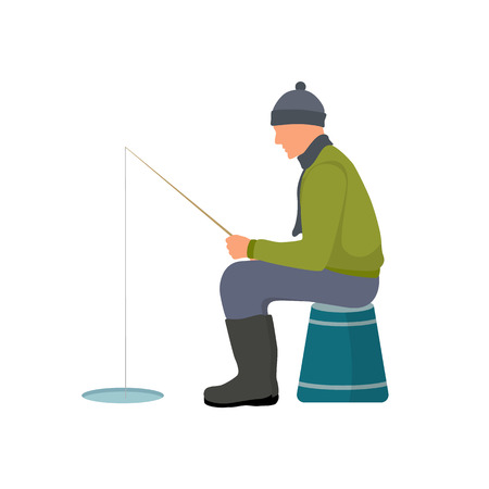 Winter fishing colorful card vector illustration, man in warm clothing and hat holding a fishing-rod and sitting on bucket, isolated on white backdrop