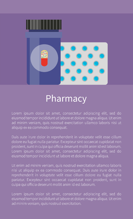 Pharmacy Poster with Pills Vector Illustration