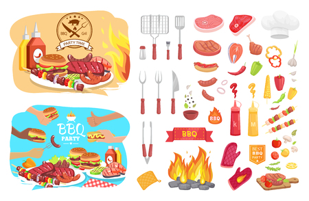 BBQ party poster and isolated icons set vector. Kitchenware for barbeque spatula fork knife and grill grid. Meat types vegetables sausages and serving Illustration