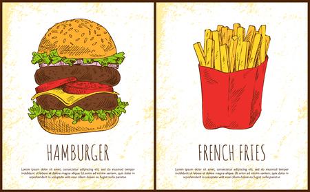 Hamburger en frietjes vectorillustratie geïsoleerd op lichte achtergrond geroosterde aardappel in rood pakket en enorme sandwich met twee vleeskoteletten