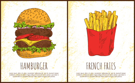 Hamburger and french fries vector illustration isolated on bright background roasted potato in red package and huge sandwich with two meat cutlets Illustration