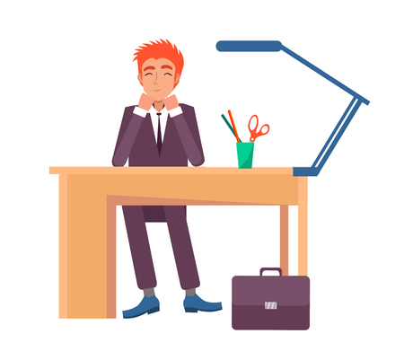 Cheerful male sitting at workplace and smiling. Office worker at desk with stationary objects, lamp and glass on top vector illustration isolated on white