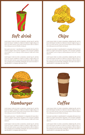 Soft drink and chips posters set. Fast food and cold hot beverages in cups with straw. Hamburger made of bun, beef and vegetables vector illustration Illustration