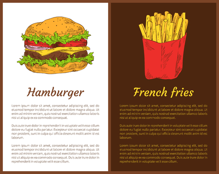 Hamburger with meat and French fries in package. Posters set with headlines and text sample. Fast food traditional fatty meal vector illustration