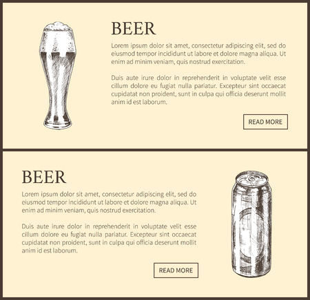 Beer objects set hand drawn vector sketches. Full tumblers with flowing foam and closed can isolated on beige vintage icons template for bar menu