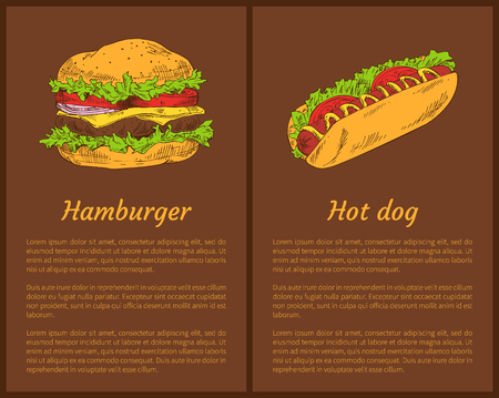 Hamburger and hot dog posters set. Fast food American burger with vegetables and meet, sausage and tomatoes. Salad leaves and bun vector illustration Illustration