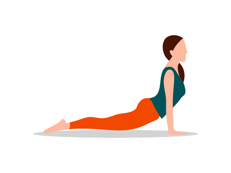 Sphinx pose and sport activity, yoga position, woman lies on floor holding hands down, wellness with health isolated cartoon flat vector illustration.
