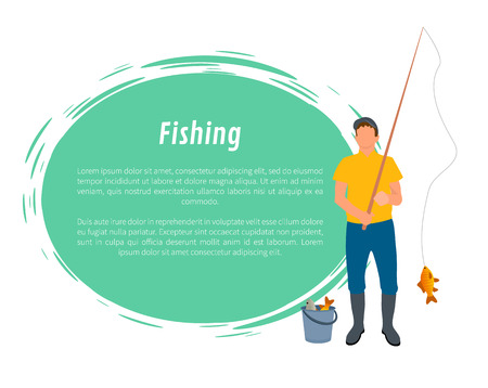 Fisherman with fishing rod, fish and full bucket vector. Fisher catching carp isolated on white with big green spot, cartoon illustration, sport theme Ilustração