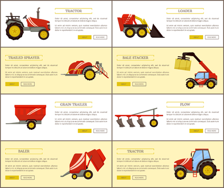 Tractor and loader posters set with text sample vector. Grain trailer and plow plough, bale stacker baler and trailed sprayer. Agricultural machinery