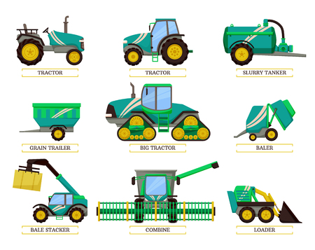 Big tractor and slurry tanker isolated icons vector. Combine and grain truck, loader and agrimotor agricultural machinery. Bale stacker and hay cube