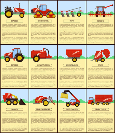 Big tractor and slurry tanker, plow and combine. Agricultural trailed sprayer, slurry tanker and grain truck, bale stacker baler and loader vector