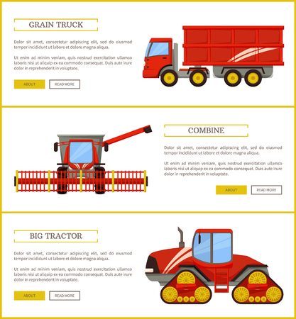 Grain truck and tractor, combine machinery set vector. Van with trailer for production hauling . Agricultural automobiles and mechanisms used on land
