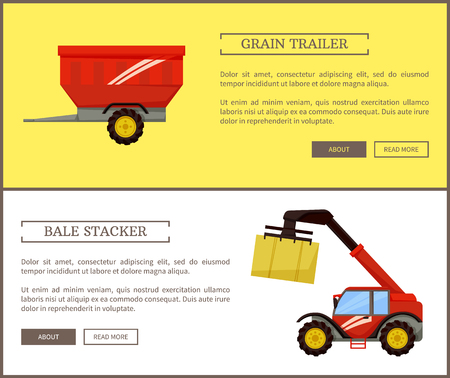 Bale stacker and grain trailer with space for crops. Transportation of production in container. Machine for dry hay storage and compression vector