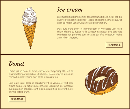 Ice cream and chocolate donut. Cold refreshing dessert and baked cake with hole decorated with creamy lines. Sweet food snacks vector illustration Illustration