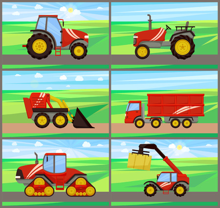 Loader and tractor agriculture machinery vector. Grain truck and baler. bale stacker and excavator loader. Transportation and cultivation devices Stock fotó - 127700089