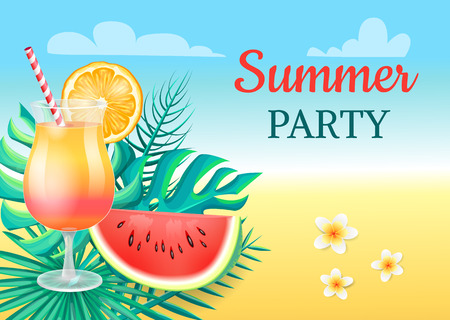 Summer Party Cocktail Party Vector Illustration