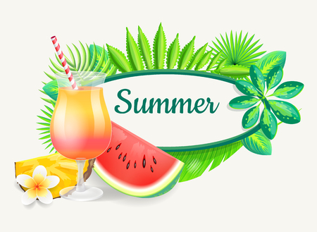 Cocktail in glass with straw and pineapple and watermelon slice, isolated on palm leaves pattern. Summer beach party banner vector placard sample.