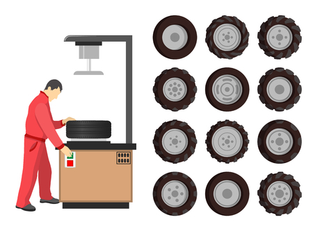 Tire service maintenance isolated icons vector. Worker wearing uniform working with devices checking automobile rubber wheels. Car repairing center
