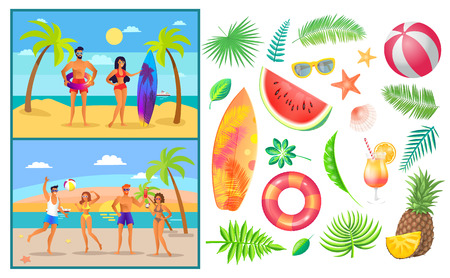 Summer People Man and Woman Vector Illustration