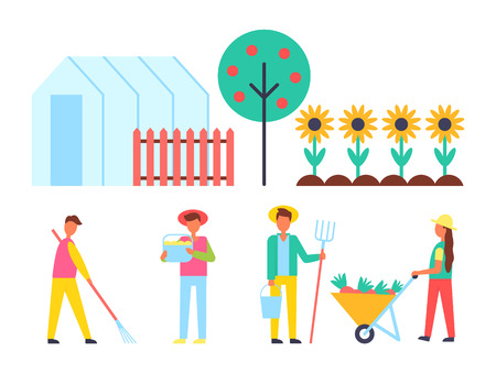 Greenhouse and fruit tree set of farming icons. Farmers gathering harvest harvesting people and sunflowers growing. Man with rake hay-fork vector Stockfoto - 112047347