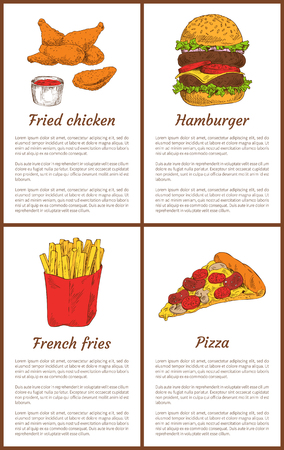 Fried chicken and french fries salty potatoes sticks in package. Posters set with pizza and hamburger, traditional american meal vector illustration Illustration