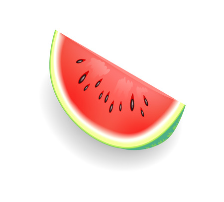 Watermelon fruit slice isolated icon vector. Product with lush succulent part with seeds. Summer juicy fruit rich in vitamin, detoxing human body