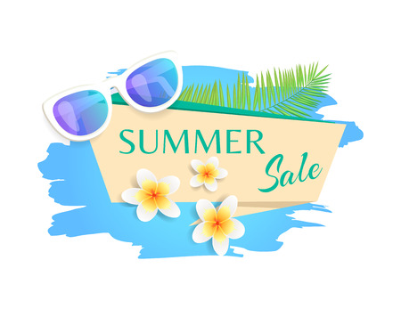 Summer sale summertime banner with text isolated vector. Stripe with sunglasses and flowers, tropical floral plants, blooming. Discounts and sell out