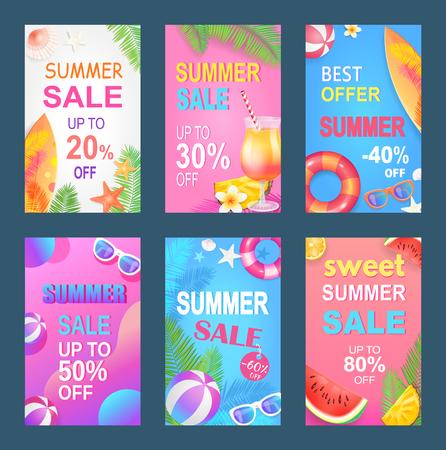 Best Offer Sweet Summer Set Vector Illustration  イラスト・ベクター素材