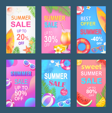 Best Offer Sweet Summer Set Vector Illustration Çizim