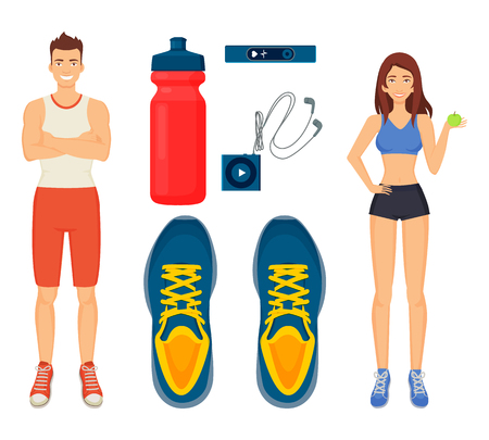 Woman and man sport isolated icons set vector. Water in bottle and sneakers, headphones and mp3 player for music, fitness watch to track heart rate