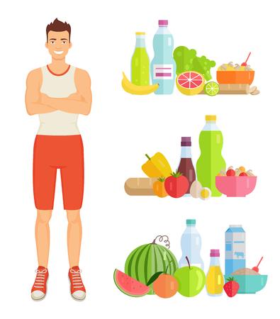 Mann, der gesunde Nahrung isst, lokalisierte Ikonen. Banane und Wassermelone, Flaschen mit Wasser und Milch, Eier und Kartoffeln, Tomaten und Pilze Verbrauchsvektor Vektorgrafik
