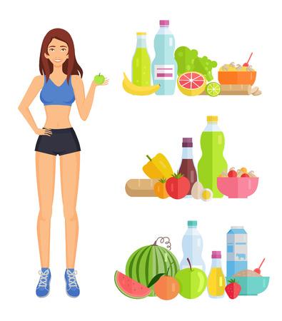 Perte de poids et alimentation saine, femme et aliments isolés icônes définies vecteur. Eau et légumes, fruits et liquides. Pastèque et banane, pomme orange Vecteurs