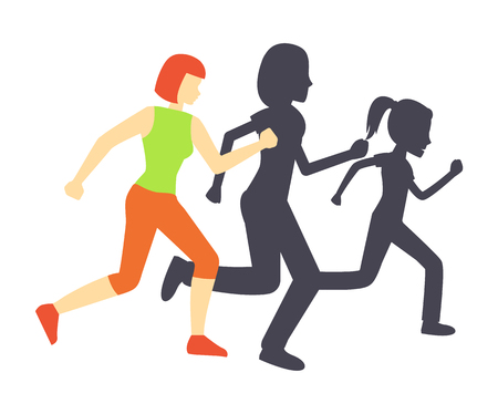 Running race woman and shadow vector. Isolated icon of female training improving health, care of life and body. Workout practicing performed by lady 向量圖像