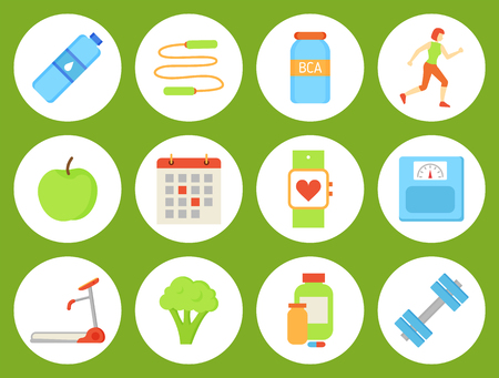 Bottle of water, broccoli healthy food isolated icons. Container with bcaa and vitamins, amino acids and training devices. Calendar and weight vector Illustration