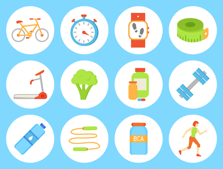 Bicycle bottle and timer clock, isolated icons. Wristband smart fitness watch with steps and heart rate information. Jumping rope and dumbbells vector