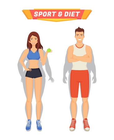 Sport and diet poster with people losing weight. Transformation of human body, woman eating healthy food, fruit apple and man with muscles vector