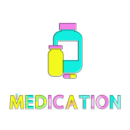 Medication Bottles Poster Vector Illustration