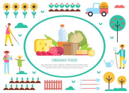 Organic food poster farming people and rural agricultural affairs. Farmer with hay-fork and bucket rake. Fruit tree sunflowers and milk products set vector Standard-Bild - 112048411