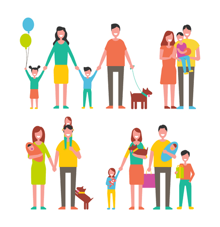 Family members cartoon characters spend time together. Parents and kids, children play with pets, happy relatives mother, father son and daughter vector Illustration