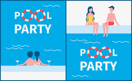 Pool party posters with text set. Romantic couples with alcohol drinking by basin enjoying time spent together. People wearing swimming suits vector