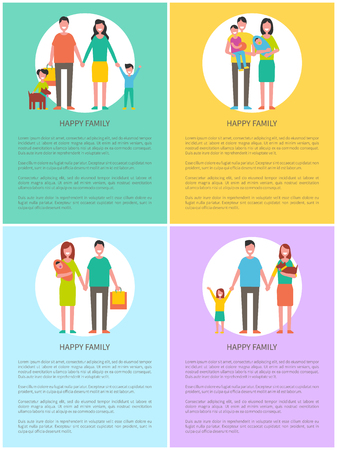 Family mother and father posters with text sample set. Spouses husband and wife with kids. Dad carrying bag, mom holding newborn infant kid vector