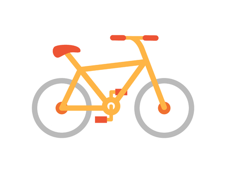 Bicycle bike icon closeup isolated icon vector. Healthy lifestyle, training using devices with wheels. Cardio exercises and improvement of health
